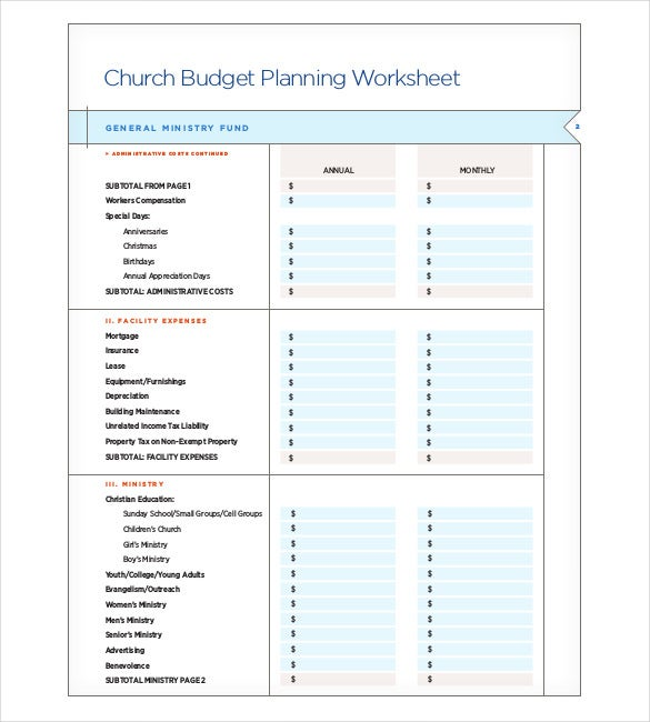 Church Budget Templates  Free Sample Example Format