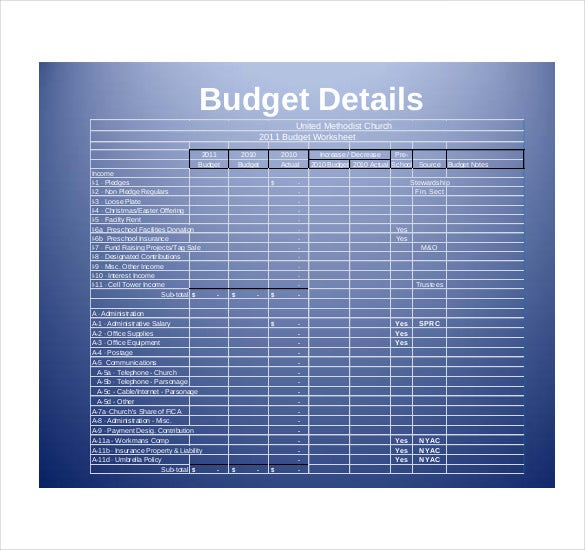 ... Church Budget Template Example