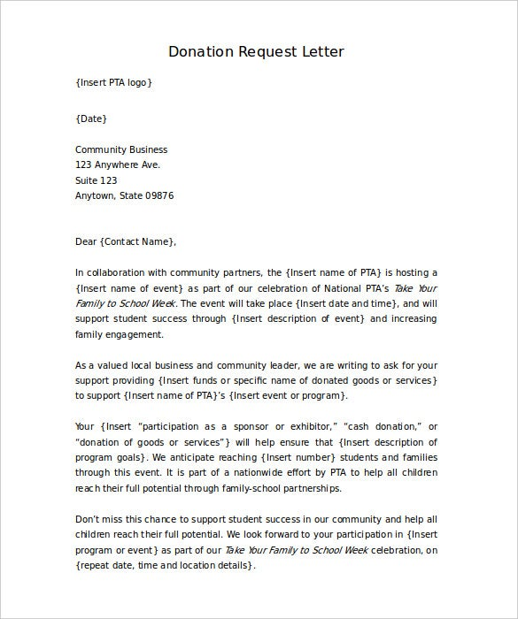 Charity Request Letter Template donation request letter template – Application for Sponsorship Template
