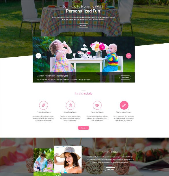 kids party planner html website template