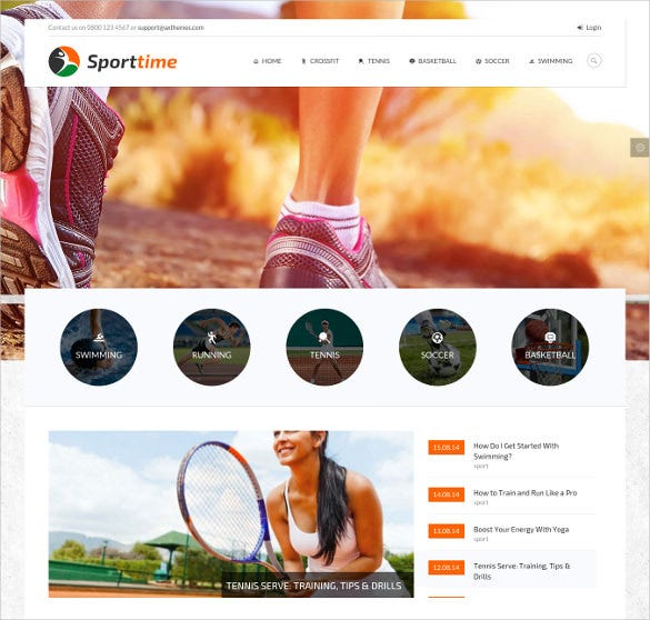 responsive tennis sports wordpress template