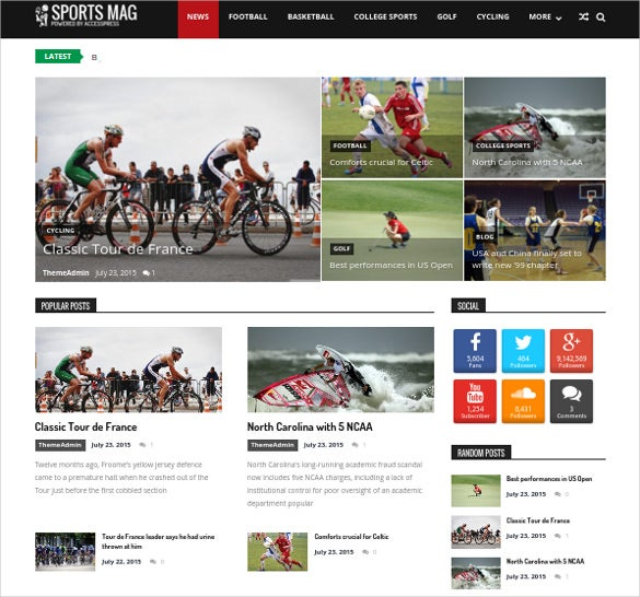 free sports magazine wordpress template