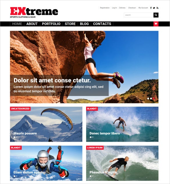 free premium extreme sports wordpress theme