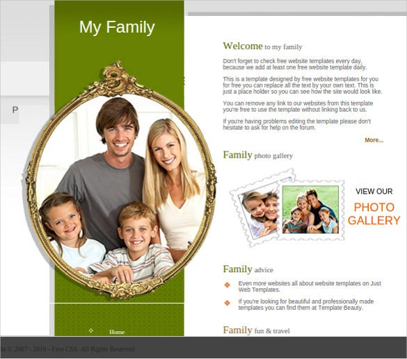 free my family website template