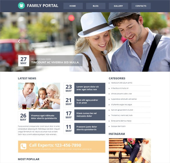 family portal responsive website template