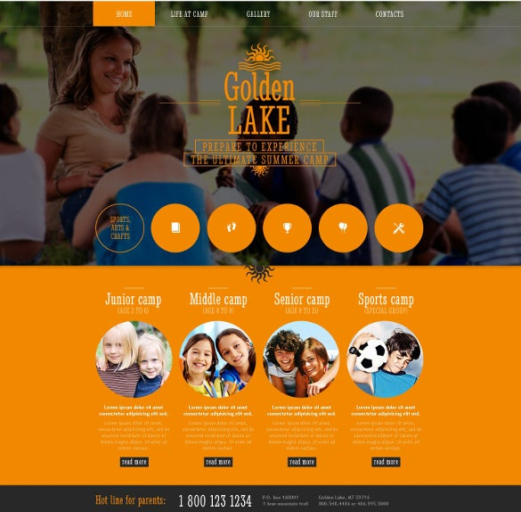 summer camp with family website template
