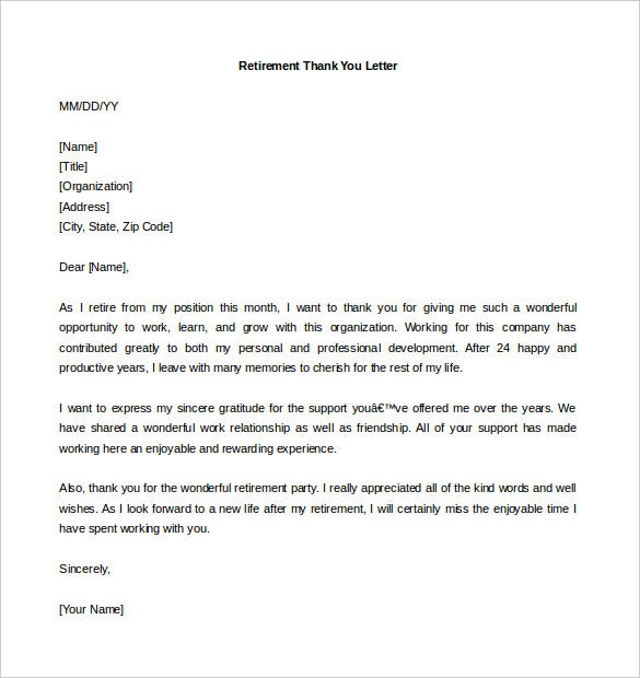 Download Retirement Thank You Letter Template Word Format  Retirement Letters