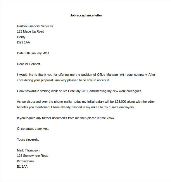Job Acceptance Letter Format Word Download  Letter Format Word