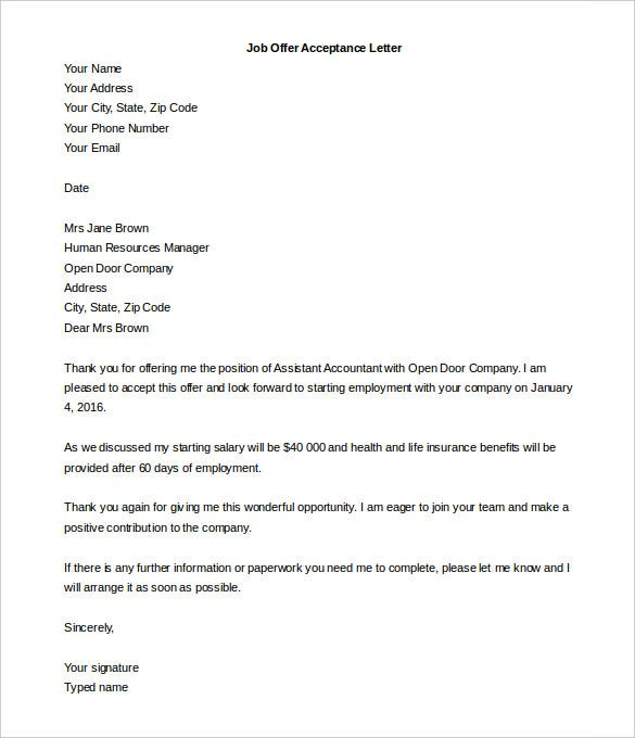 job offer letter template uk acceptance letter template 9 free word pdf documents 20620 | Job Offer Acceptance Letter Template Word Editable