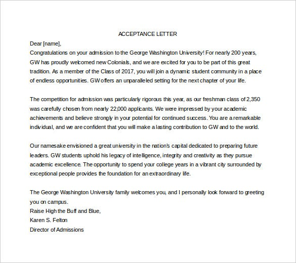 Acceptance Letter Template   Free Word Pdf Documents Download