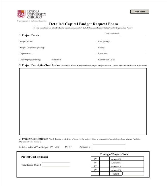 Budget request form 8 budget request form student for Capital expenditure justification template