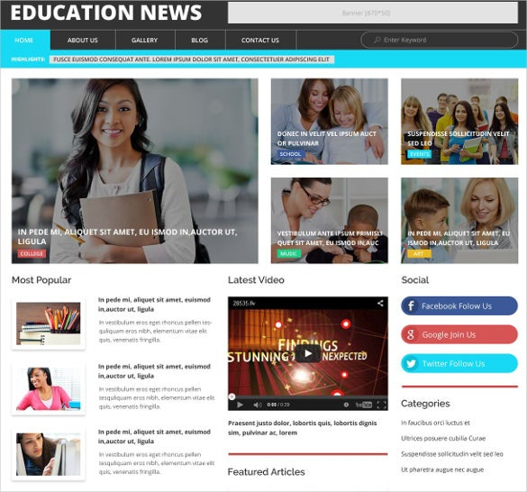 education news bootstrap wordpress theme