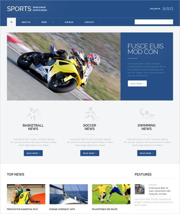 responsive sports news wordpress theme