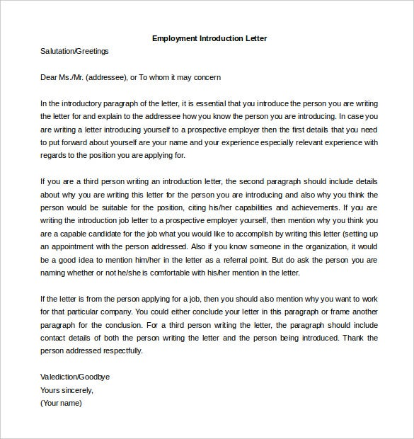 letter of introduction for employment word format download
