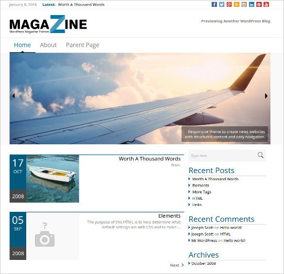 simple news magazine wordpress theme