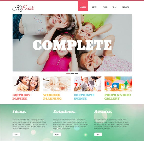 event planner responsive wordpress template