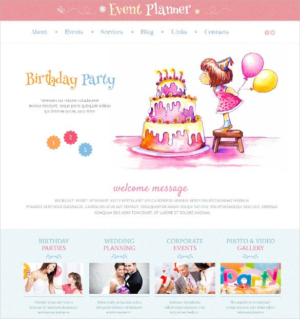 birthday event planner responsive wordpress theme