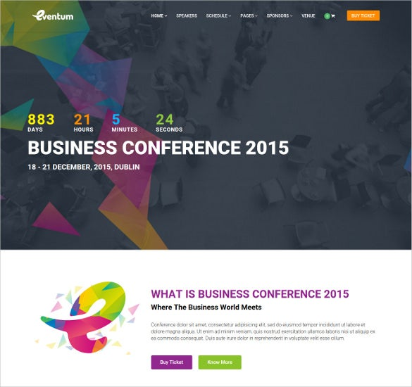 business conference event wordpress theme
