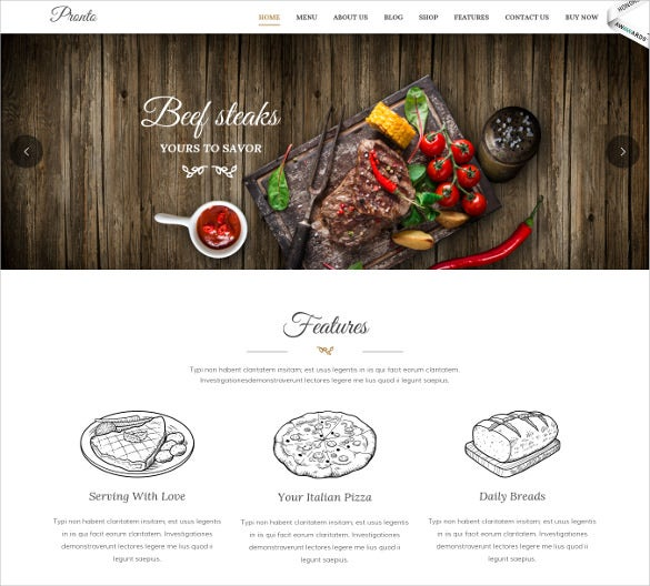 restaurant event wordpress theme