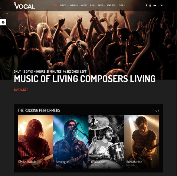 responsive music event wordpress template