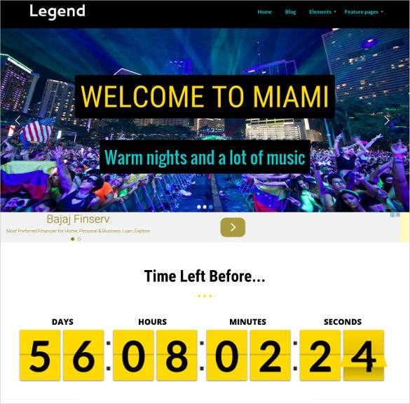night music club event wordpress template