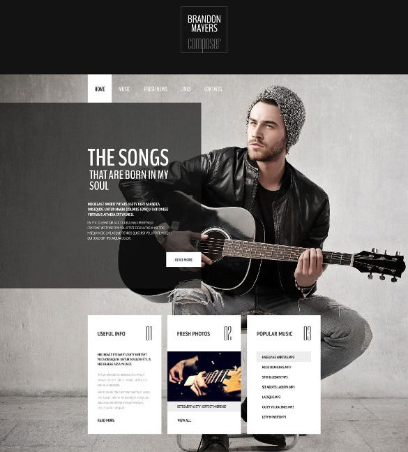 personal music composers portfolio website template