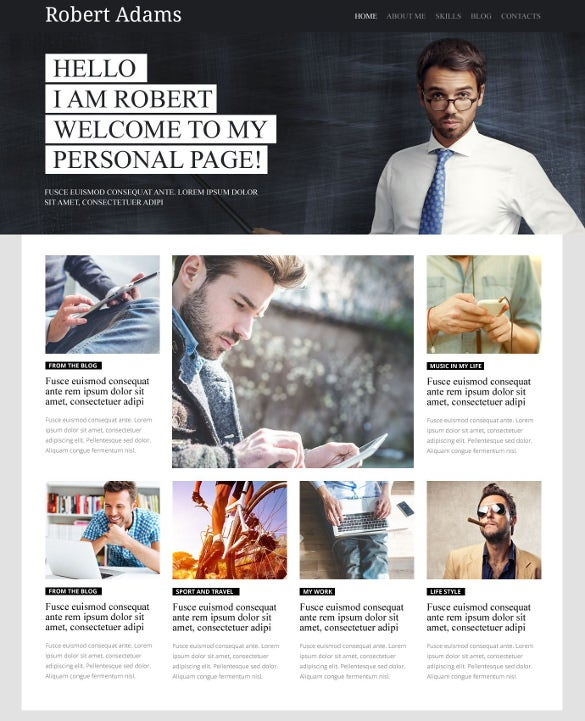personal profile page wordpress website theme