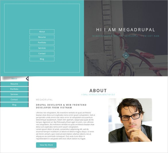personal portfolio resume drupal website theme