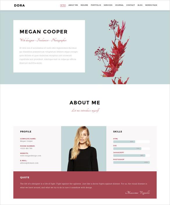 onepage personal portfolio wordpress template
