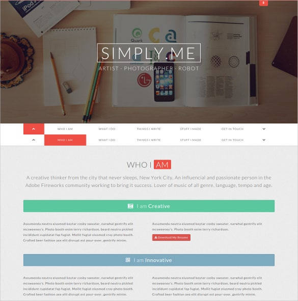simple personal portfolio website template