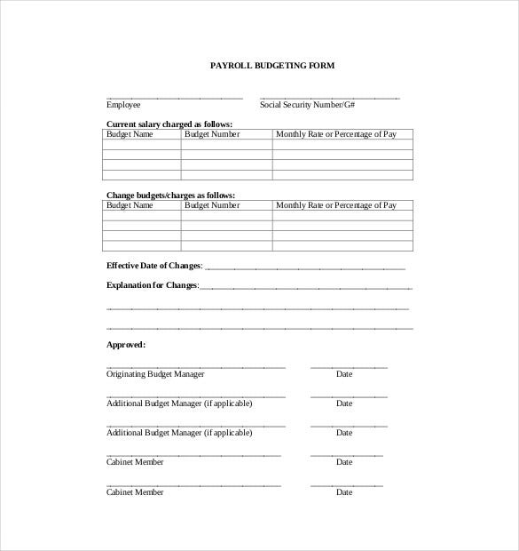 payroll budgeting form