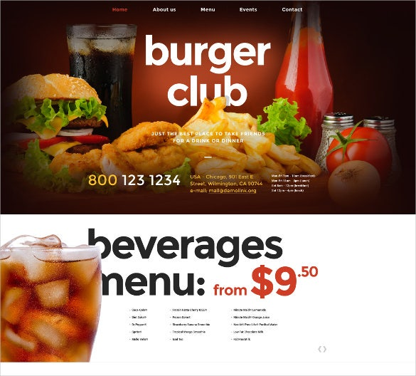fast food restaurant bootstrap website template