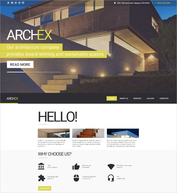 architecture responsive bootstrap website theme