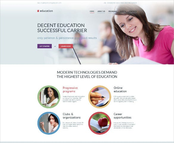 education responsive bootstrap website template