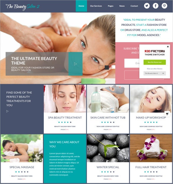 beauty salon wordpress bootstrap website template