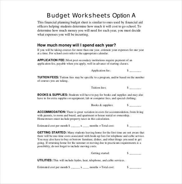 financial planning budget sheet