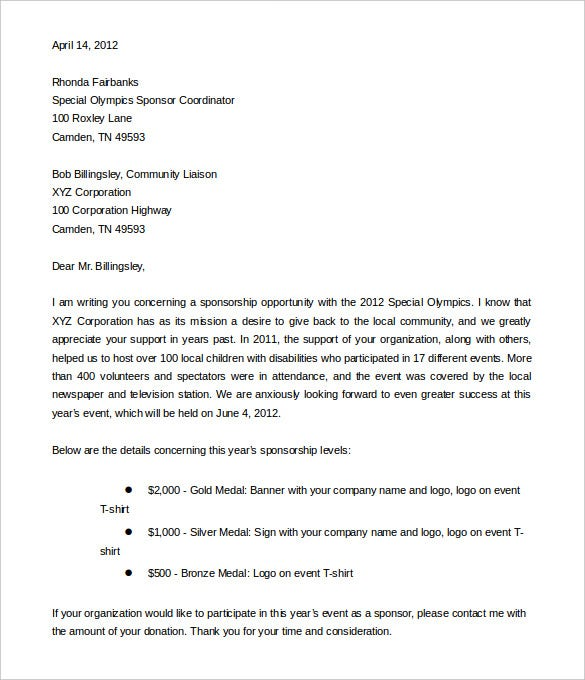corporate sponsorship letter template free word format