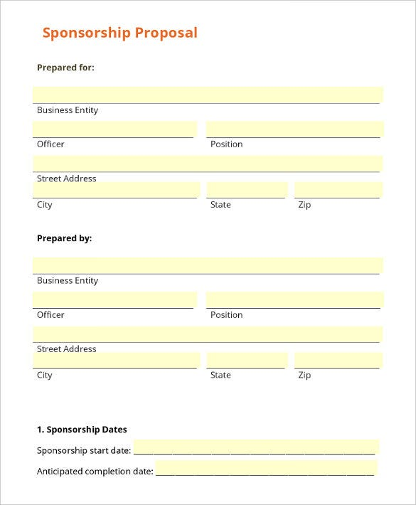 Nice Printable Business Sponsorship Letter Template Download Idea Example Sponsor Form