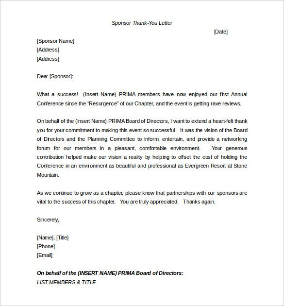 Sponsorship Letter Template – 8+ Free Word, Pdf Documents Download