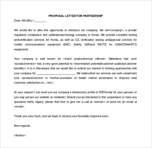 Proposal Letter For Partnership Free Editable  Format For Proposal Letter