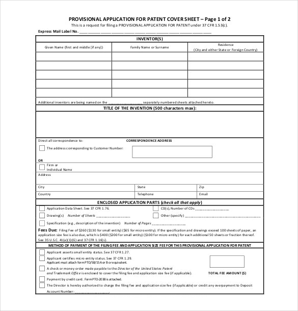 Patent Provisional Application Form PDF Format Free Download Nice Ideas