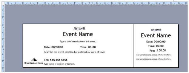 Open Ticke Template In Publisher  Free Event Ticket Template Microsoft Word