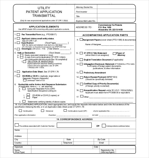 Utility Patent Application Transmittal Form Free Download