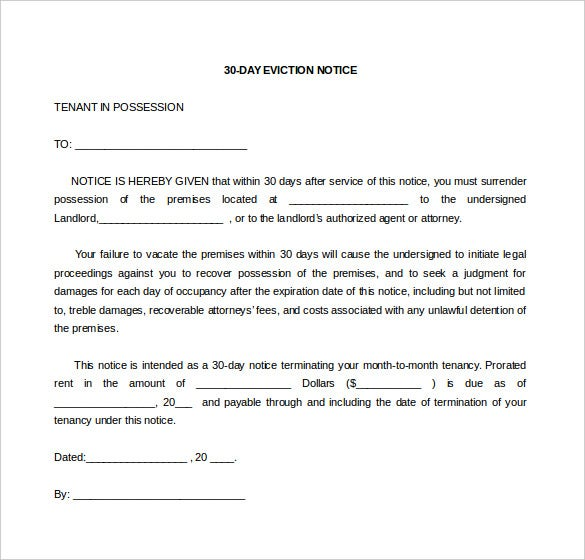 Doc575709 Eviction Notice Form 30 Day Notice To Vacate