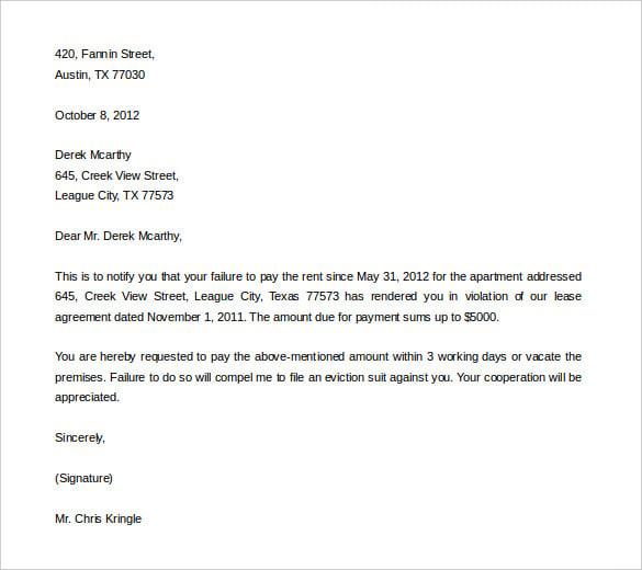 Doc400518 Letter of Eviction Sample Sample Eviction Notice – Sample Eviction Notice