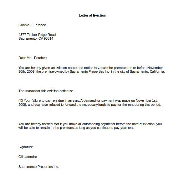 how to write a letter of eviction free word download