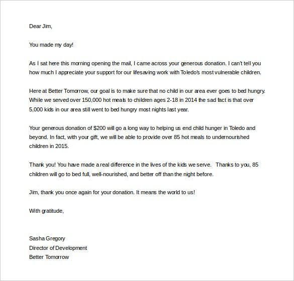 thank you letter after fundraising event download