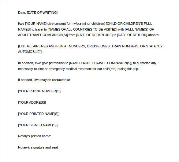 Notarized Letter Template 8Free Word PDF Documents Download – Sample Permission Letter for Traveling Child