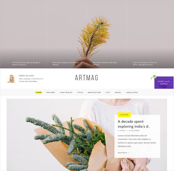 artmag clean wordpress blog magazine theme