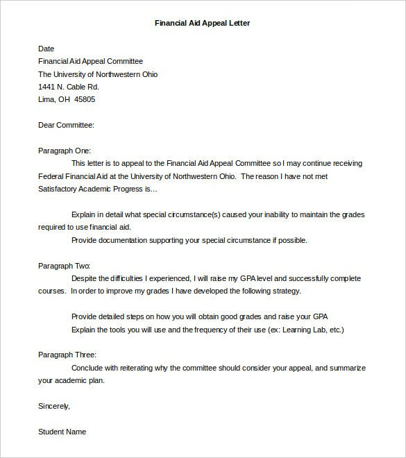 Financial Aid Appeal Letter Template Word Doc
